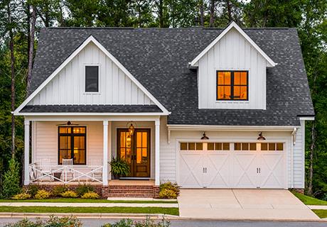 modern house with white garage door