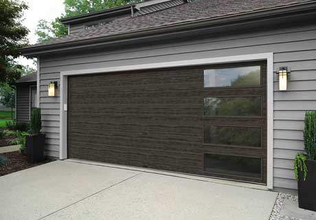 slate garage door with windows
