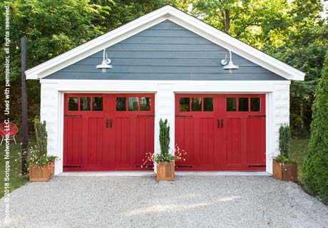 canyon ridge red garage door
